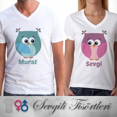 Sevgili Tişörtleri - İsim Yazılı 2'li Tombik Baykuşlar - Thumbnail