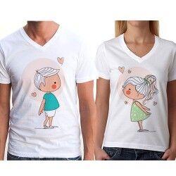 Sevgili Tişörtleri - Öpüşen Romantik Çiftler - Thumbnail