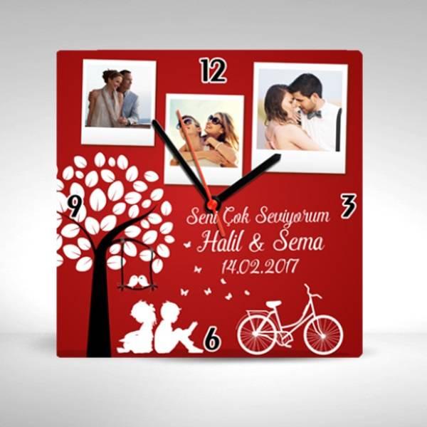 Sevgililer Günü Temalı Kare Duvar Saati