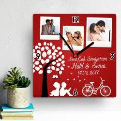 Sevgililer Günü Temalı Kare Duvar Saati - Thumbnail