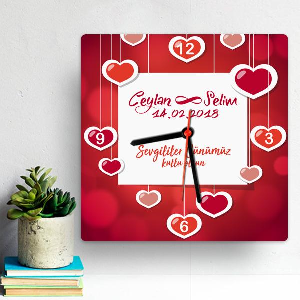 Sevgililer Gününe Özel Kare Duvar Saati
