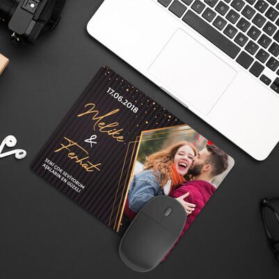 Sevgililer İçin Romantik Fotoğraflı Mousepad - Thumbnail