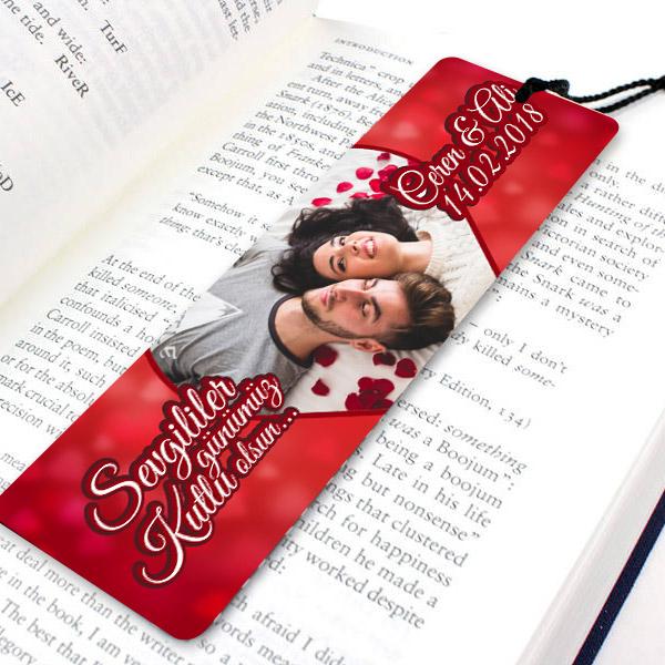 Sevgililere Fotoğraflı Romantik Kitap Ayracı