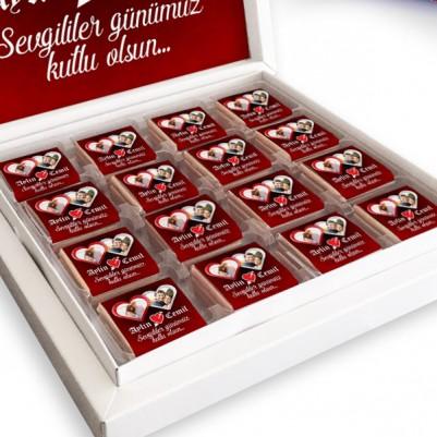 Sevgililere Özel 2 Fotoğraflı Çikolata Kutusu - Thumbnail