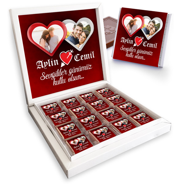 Sevgililere Özel 2 Fotoğraflı Çikolata Kutusu