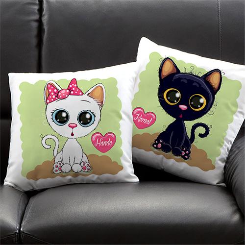 Sevgililere Özel 2'li Minnoş Kedicikler Yastık