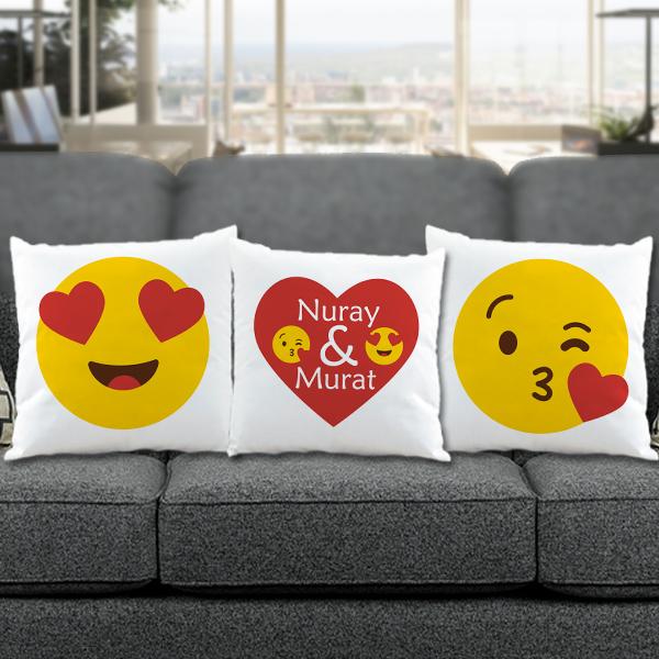 Sevgililere Özel 3'lü Aşık Emoji Yastık Seti