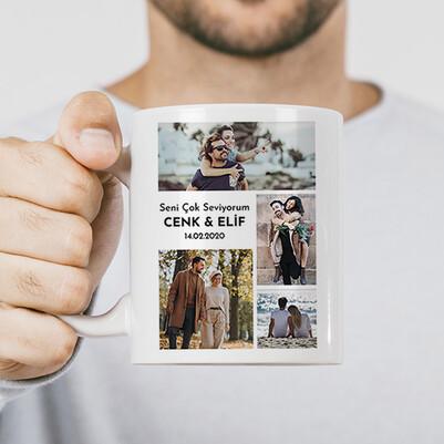 Sevgililere Özel 4 Fotoğraflı Kupa Bardak - Thumbnail