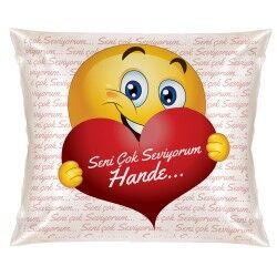 Sevgililere Özel Aşık Emoji Yastık - Thumbnail