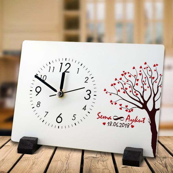 Sevgililere Özel Aşk Ağacımız Masa Saati