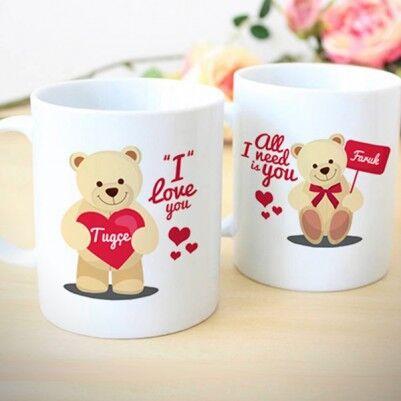 - Sevgililere Özel Ayıcıklı 2'li Kupa Bardak