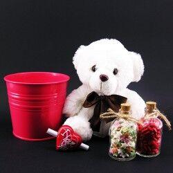 Sevgililere Özel Ayıcıklı Kova Hediye Sepeti - Thumbnail