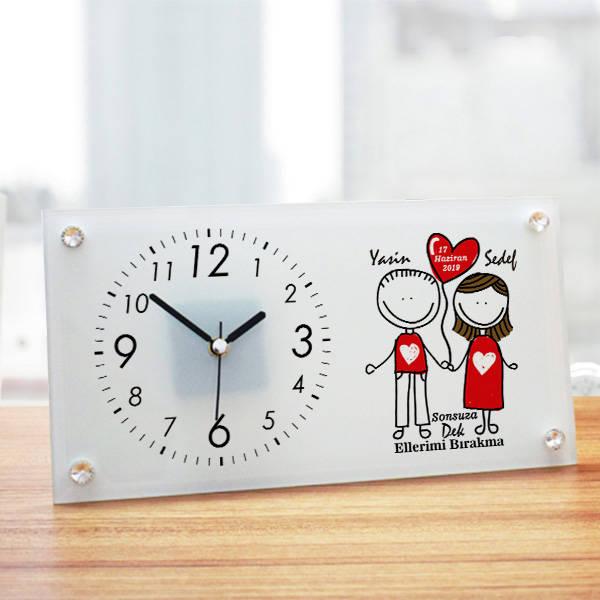 Sevgililere Özel Cam Masa Saati