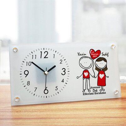 - Sevgililere Özel Cam Masa Saati