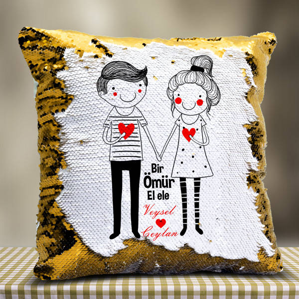 Sevgililere Özel El Ele Sihirli Yastık