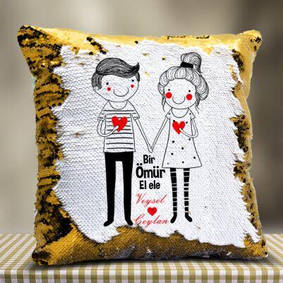 Sevgililere Özel El Ele Sihirli Yastık - Thumbnail