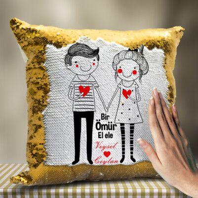- Sevgililere Özel El Ele Sihirli Yastık