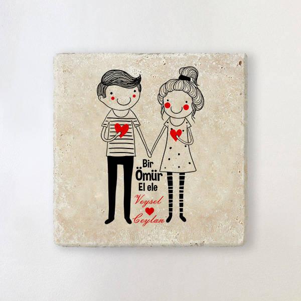 Sevgililere Özel El Ele Taş Bardak Altlığı