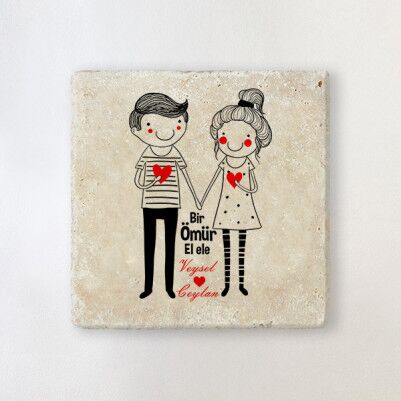 - Sevgililere Özel El Ele Taş Bardak Altlığı