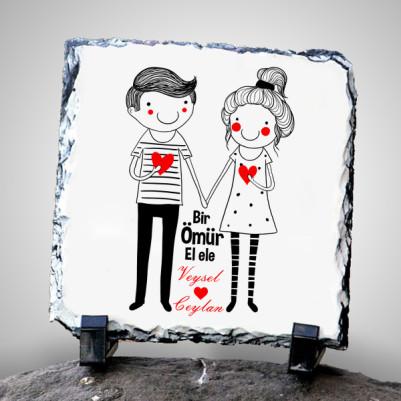 - Sevgililere Özel El Ele Taş Baskı