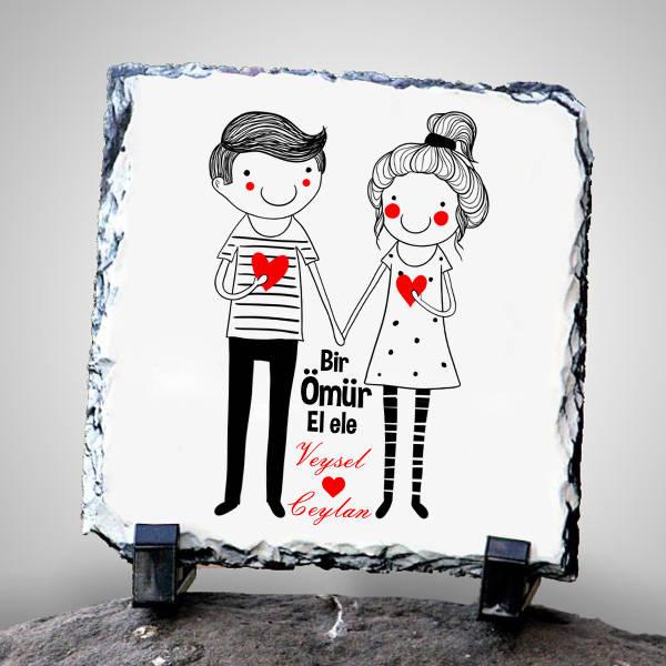 Sevgililere Özel El Ele Taş Baskı