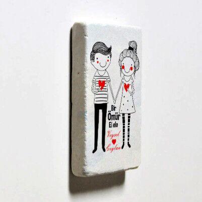 Sevgililere Özel El Ele Taş Buzdolabı Magneti - Thumbnail