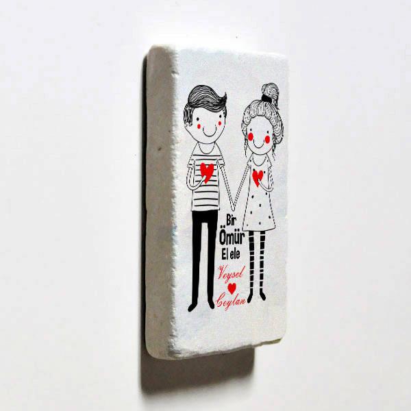 Sevgililere Özel El Ele Taş Buzdolabı Magneti