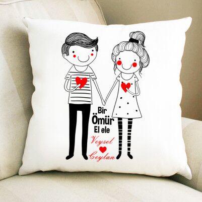 - Sevgililere Özel El Ele Yastık