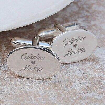 - Sevgililere Özel Elips Kol Düğmeleri