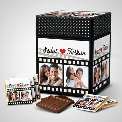 - Sevgililere Özel Film Şeridi Çikolata Kutusu