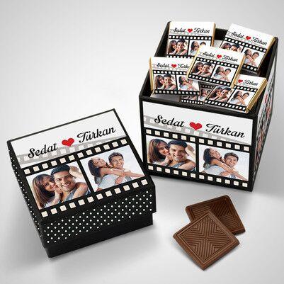 Sevgililere Özel Film Şeridi Çikolata Kutusu - Thumbnail