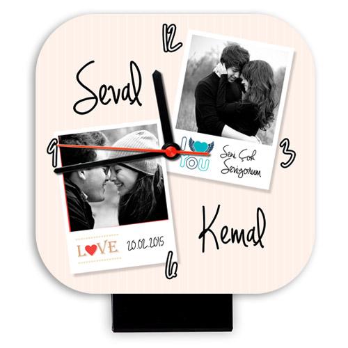 Sevgililere Özel Fotoğraf ve İsimli Masa Saati