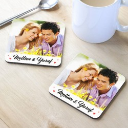 Sevgililere Özel Fotoğraflı Bardak Altlığı - Thumbnail