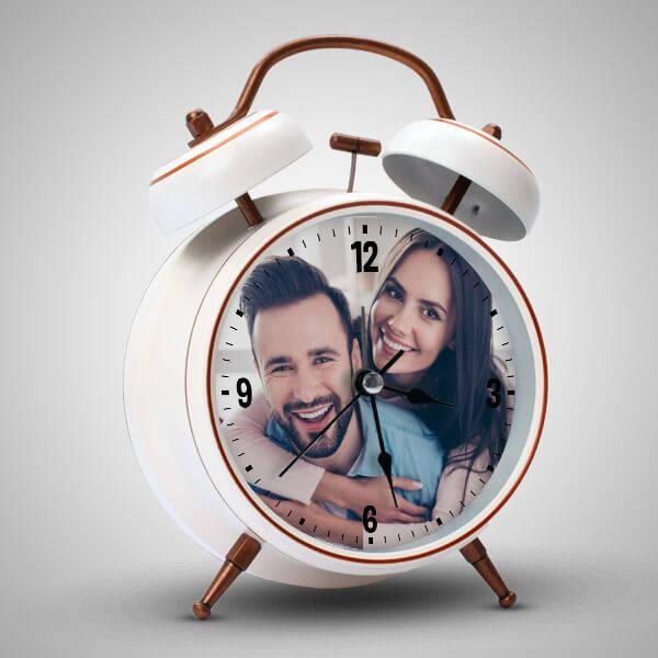 Sevgililere Özel Fotoğraflı Çalar Saat BEYAZ