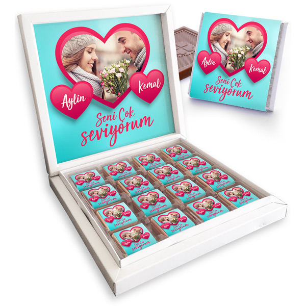 Sevgililere Özel Fotoğraflı Çikolata Kutusu