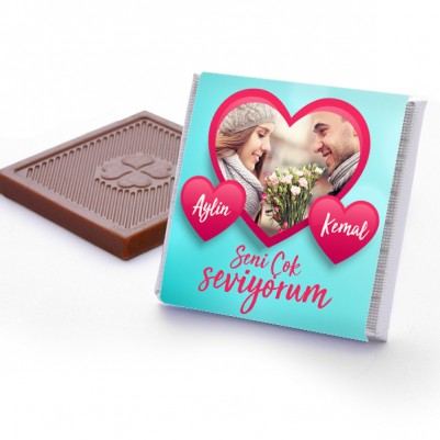 Sevgililere Özel Fotoğraflı Çikolata Kutusu - Thumbnail