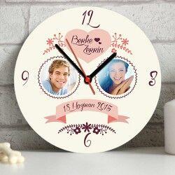 - Sevgililere Özel Fotoğraflı Duvar Saati