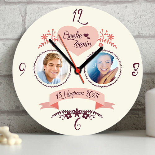 Sevgililere Özel Fotoğraflı Duvar Saati