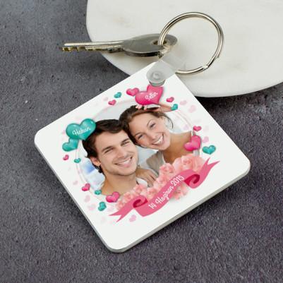 Sevgililere Özel Fotoğraflı Kare Anahtarlık - Thumbnail
