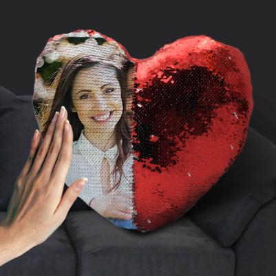 Sevgililere Özel Fotoğraflı Sihirli Kalp Yastık - Thumbnail