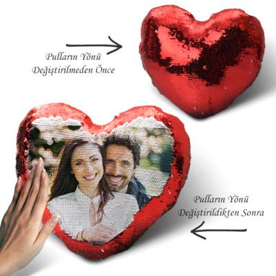 - Sevgililere Özel Fotoğraflı Sihirli Kalp Yastık