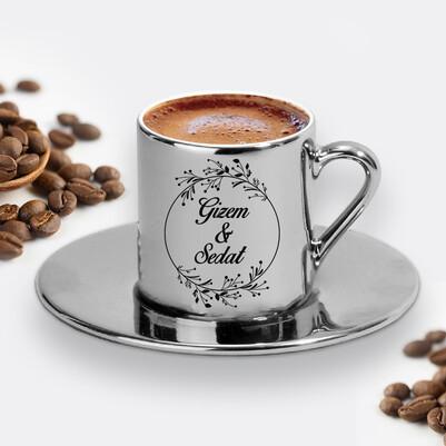 - Sevgililere Özel Gümüş Renk Kahve Fincanı
