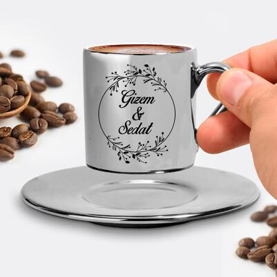 Sevgililere Özel Gümüş Renk Kahve Fincanı - Thumbnail