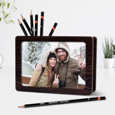 Sevgililere Özel İki Fotoğraflı Kalemlik - Thumbnail