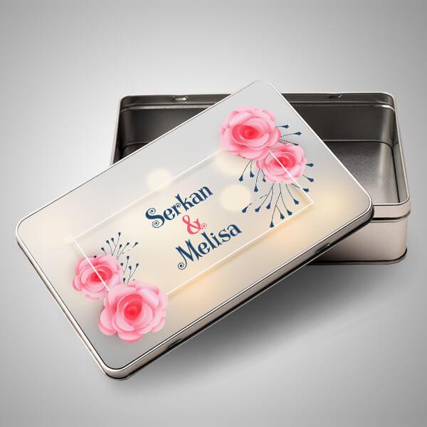 Sevgililere Özel İsim Yazılı Metal Kutu