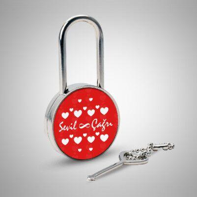 Sevgililere Özel Kalp Desenli Metal Kilit - Thumbnail