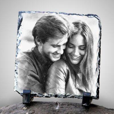 - Sevgililere Özel Karakalem Efektli Taş Baskı