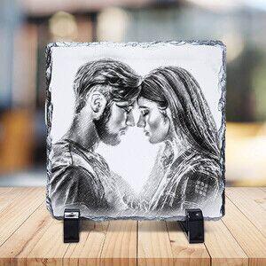 Sevgililere Özel Karakalem Efektli Taş Baskı - Thumbnail