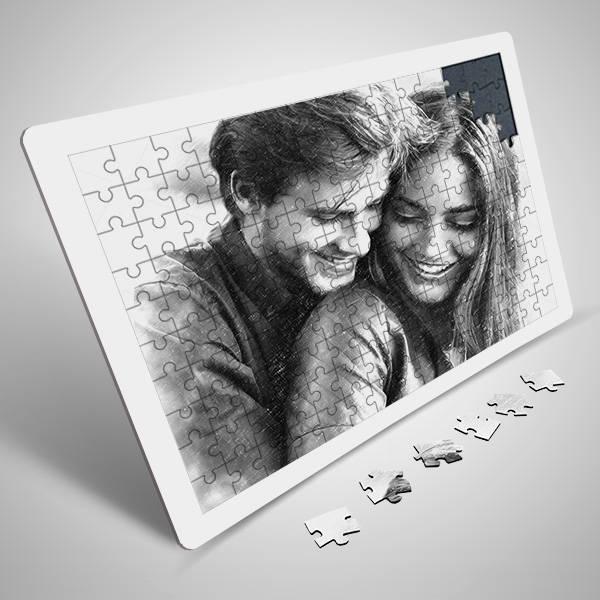 Sevgililere Özel Karakalem Resim Efektli Puzzle
