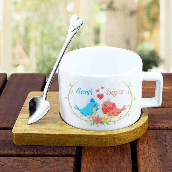 Sevgililere Özel Kaşıklı Lüks Çay Fincanı
